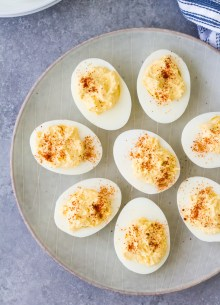 Easy classic deviled eggs recipe, on a serving plate. How to make deviled eggs.