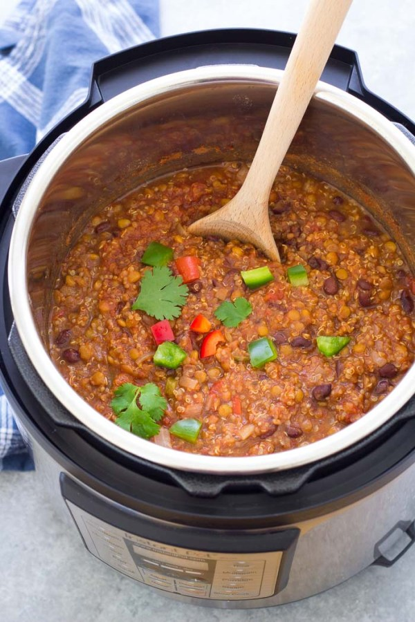 Vegetarian lentil chili in an instant pot. You can also make this recipe in a slow cooker.