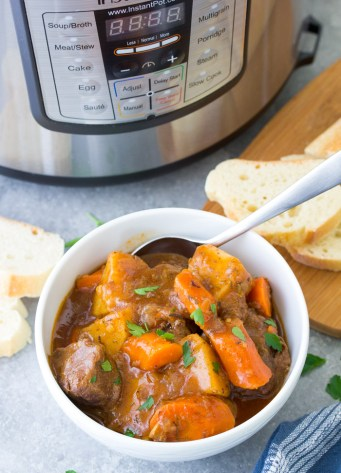 Easy Instant Pot Beef Stew, one of the best healthy pressure cooker recipes!