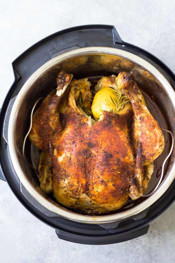 How to cook a whole chicken in an Instant Pot pressure cooker.
