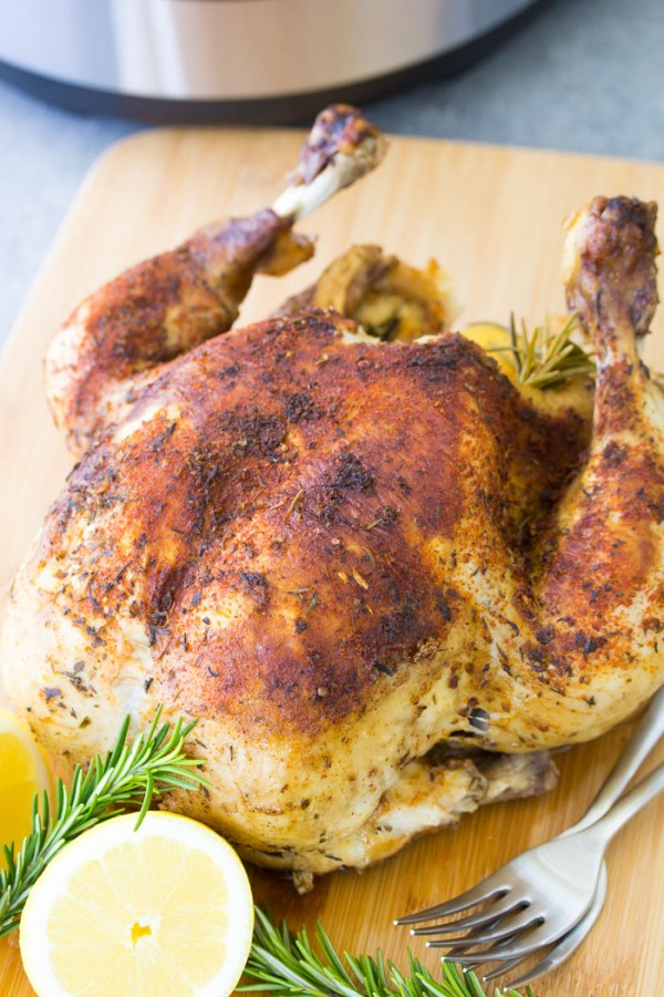 Rotisserie-style whole chicken, cooked in an Instant Pot.