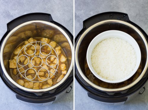 Cooking rice in an oven safe bowl raised up on a trivet in an Instant Pot.