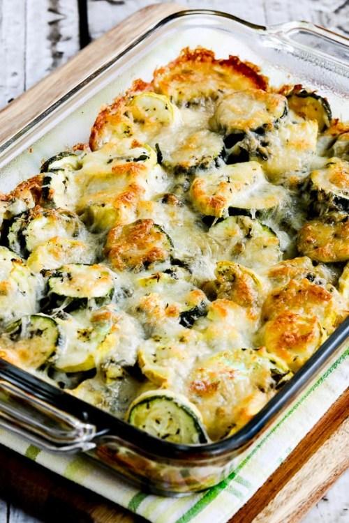 Cheesy Zucchini Bake in a casserole dish.