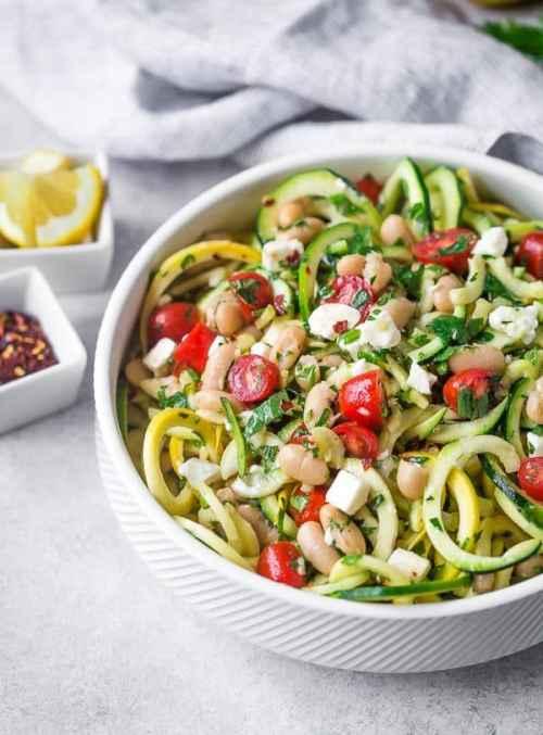 Zucchini Noodle Salad with Beans, Feta and Lemon