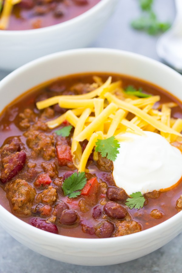 Close up of hearty ground beef chili made in an Instant Pot.