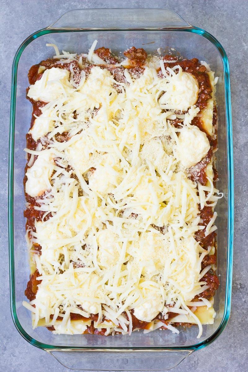 Layering the lasagna.