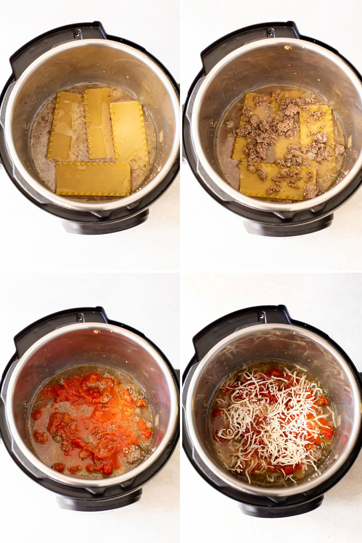 four step by step lasagna assembly photos showing noodles, then meat, then sauce, then cheese