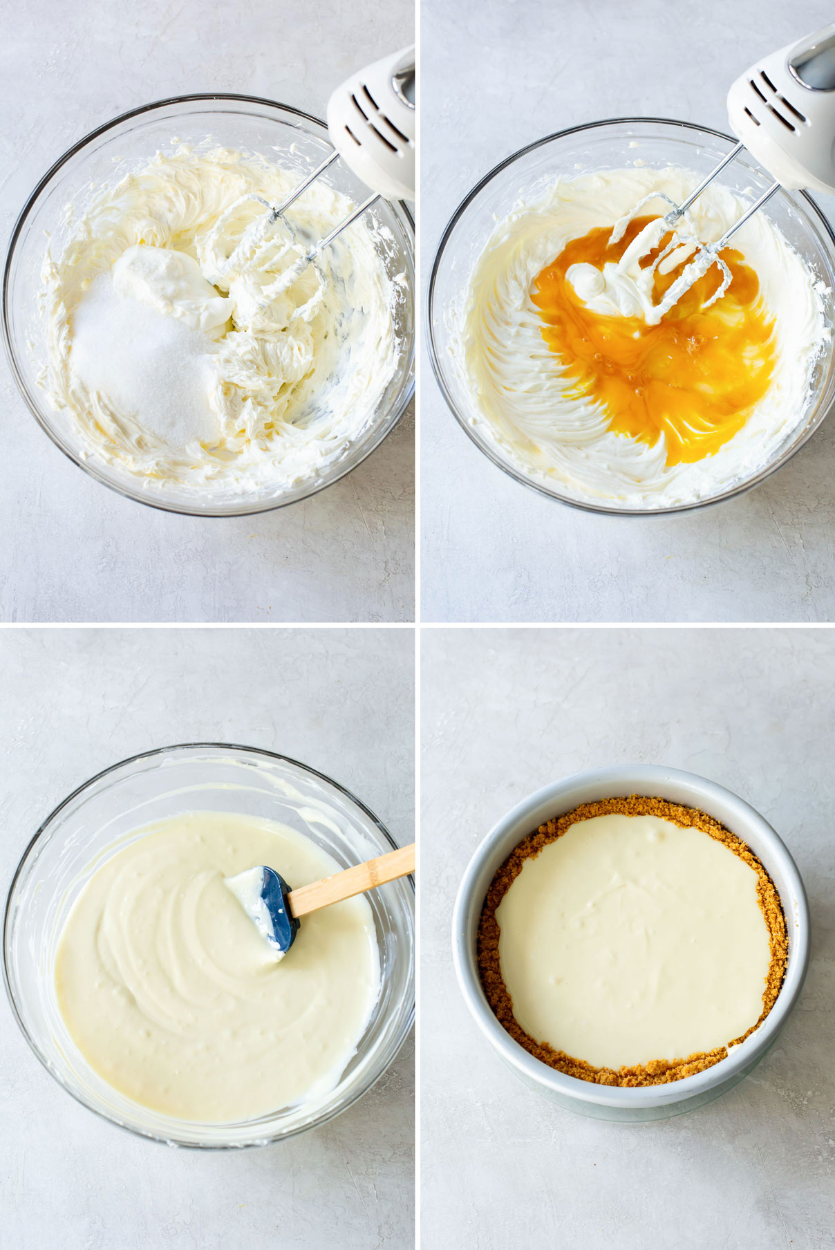 step by step photos showing how to make cheesecake filling