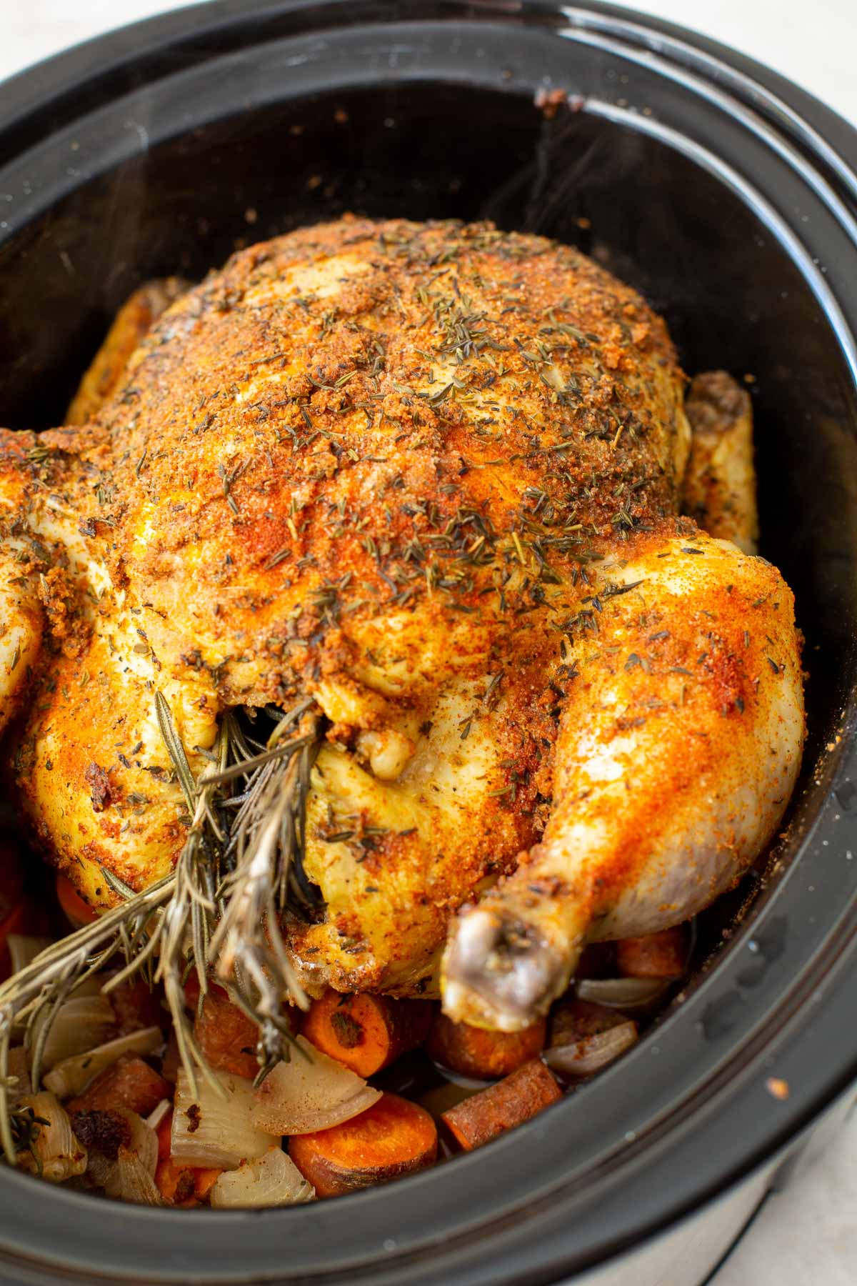 whole chicken in slow cooker after cooking