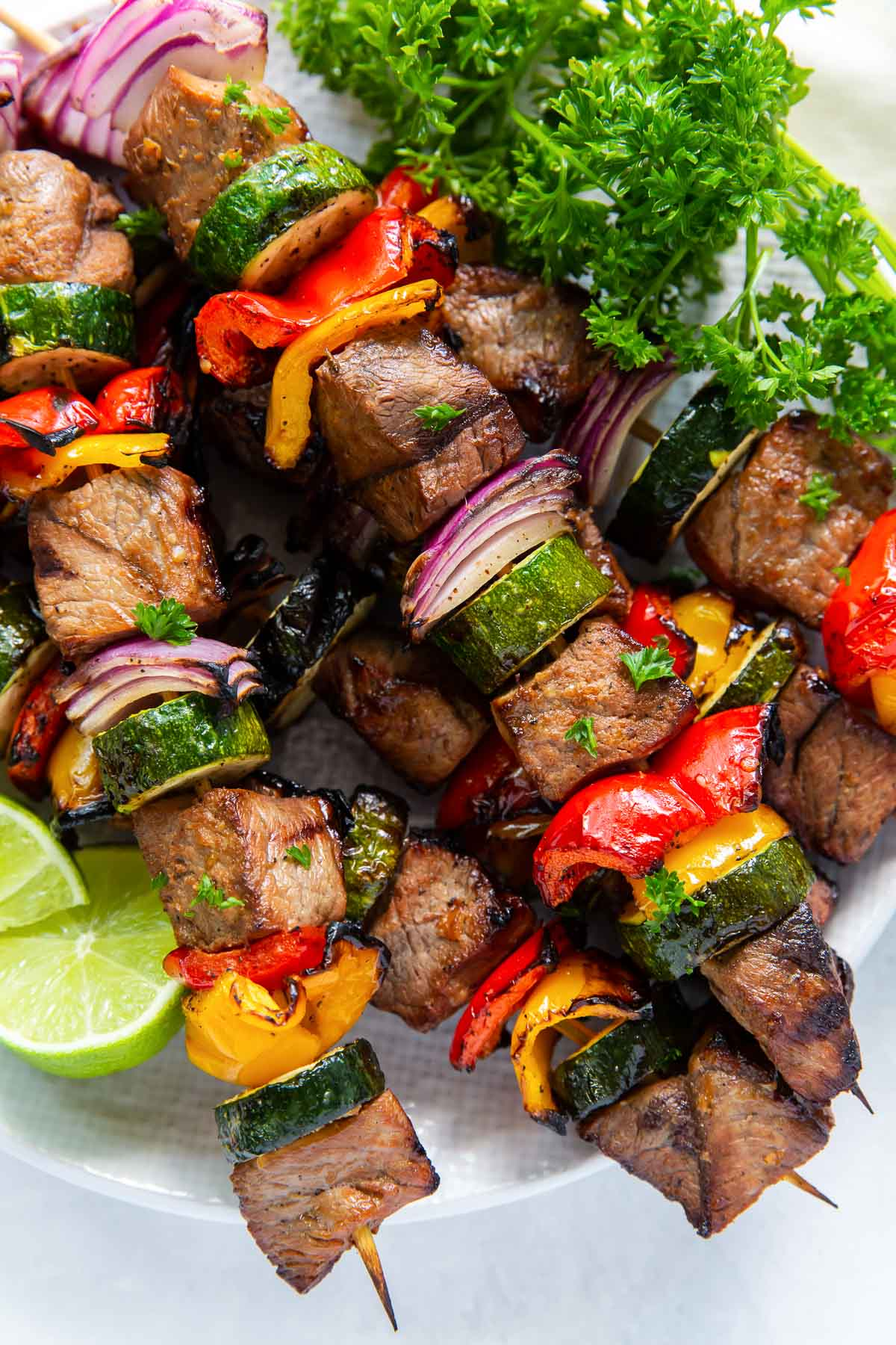 close up of beef and veggie kabobs
