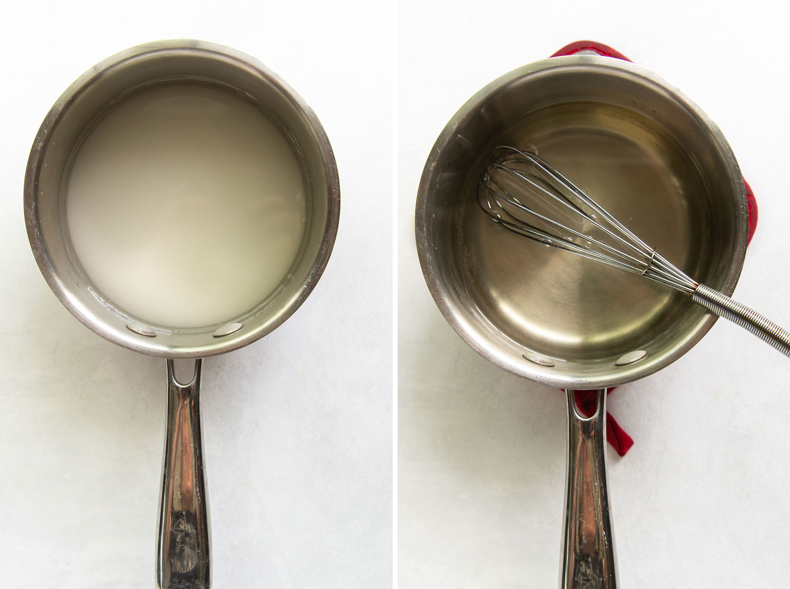 two photos showing sugar and water in saucepan before and after heating for simple syrup