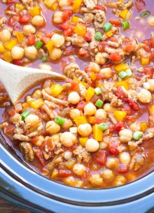 turkey chili with chickpeas in a slow cooker