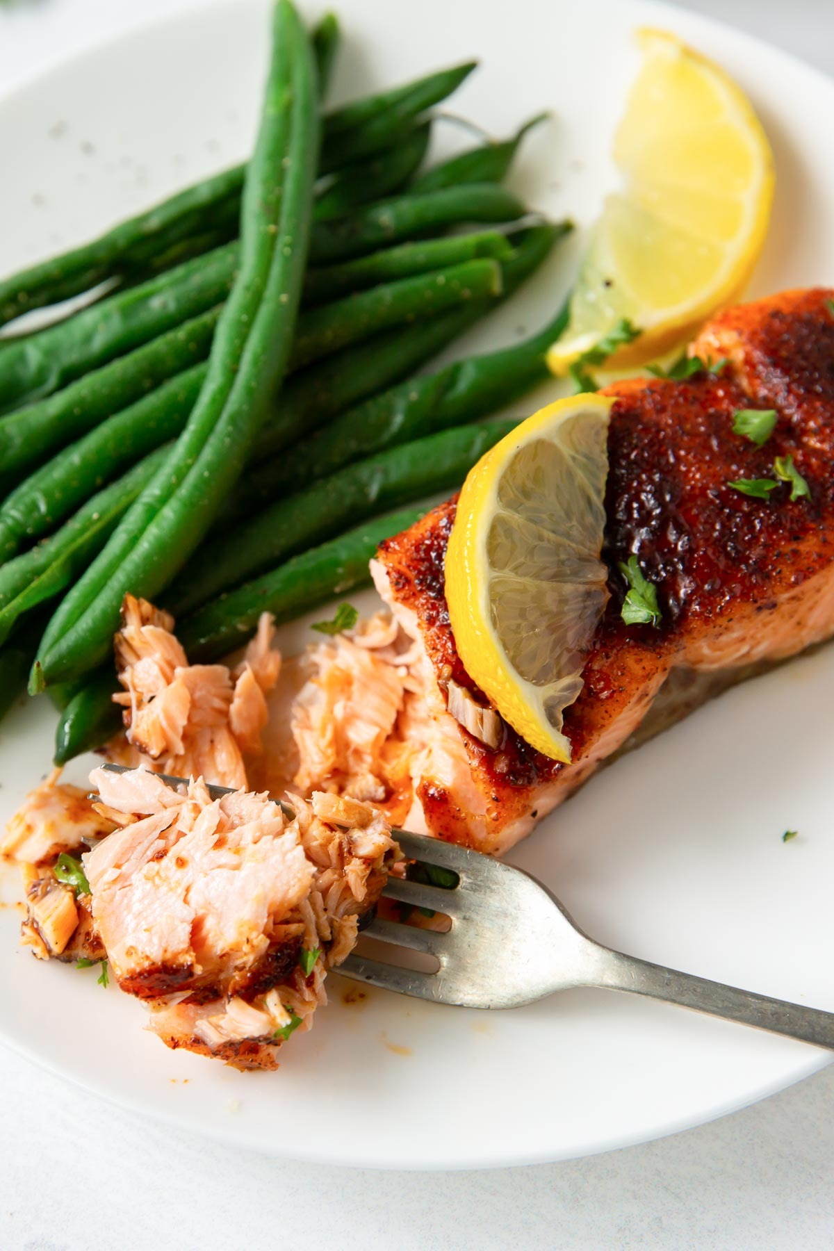 air fryer salmon fillet flaked with a fork