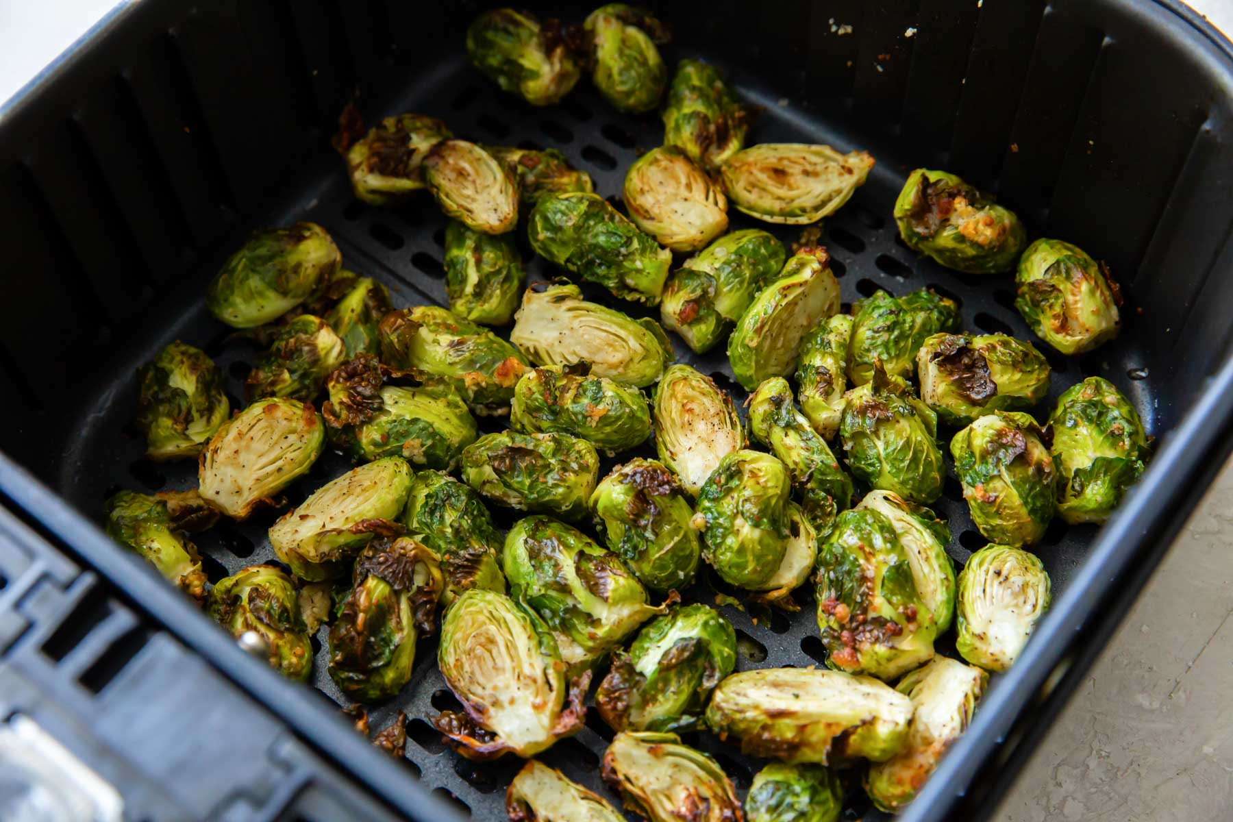 crispy brussels sprouts in air fryer after cooking