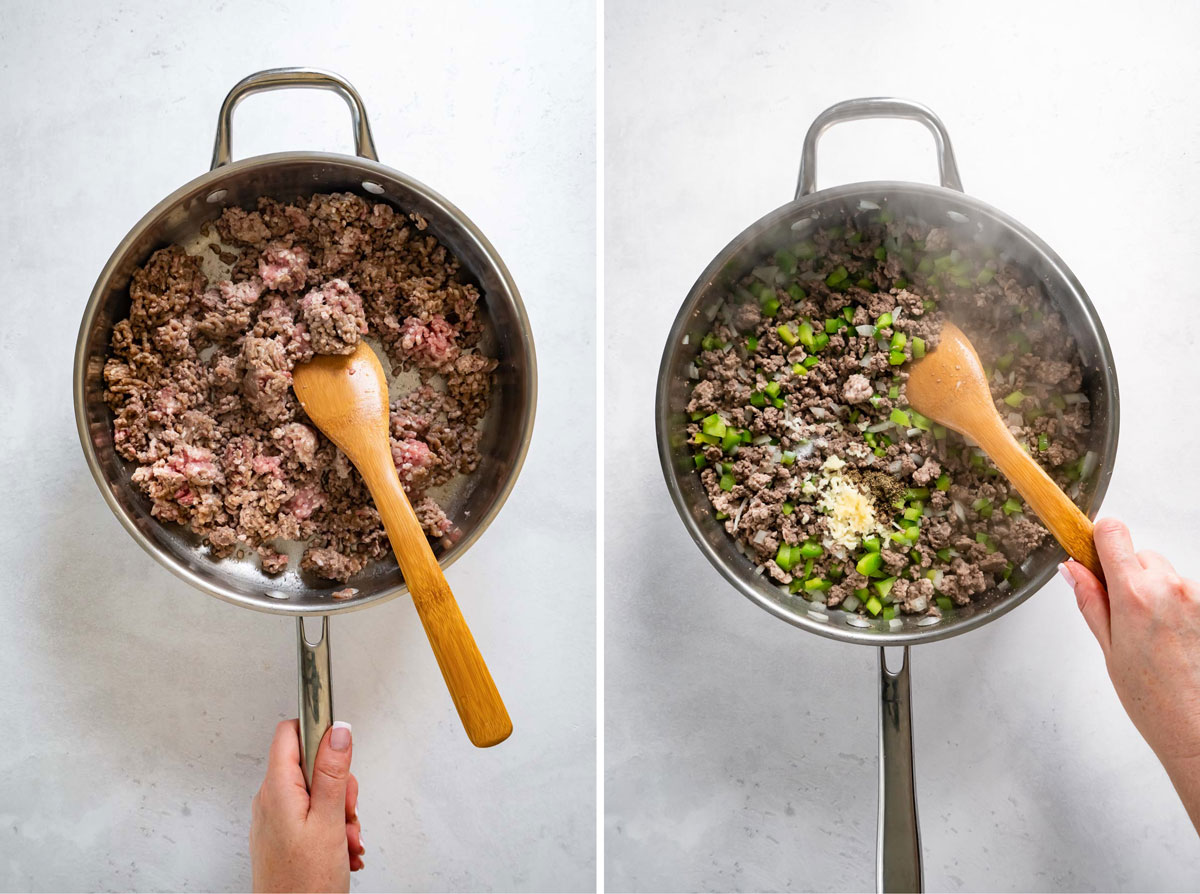 two images showing browning beef and then adding onion, bell pepper and garlic