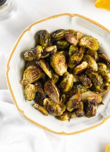 roasted brussels sprouts in a serving dish