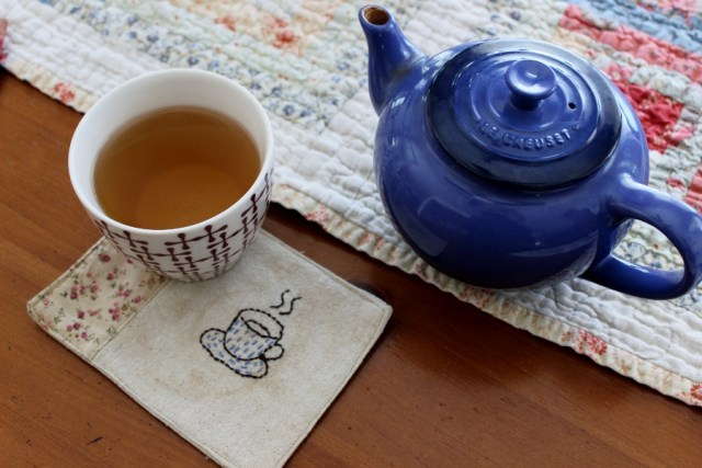 tea, tea pot, handmade coaster