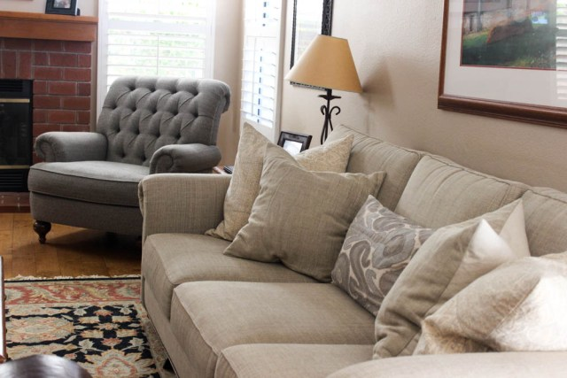 Pottery Barn throw pillows with neutral sofa