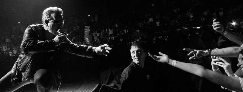 Photograph of Bono at first U2 concert in Belfast 2015