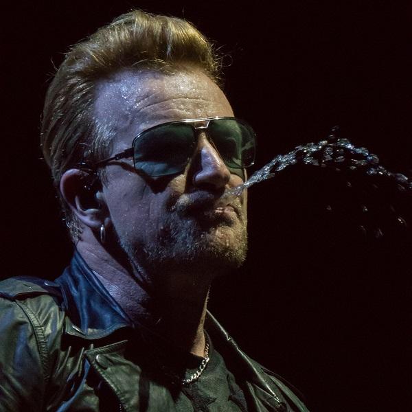 Bono spitting water at U2 concert Dublin 24 Nov 2015