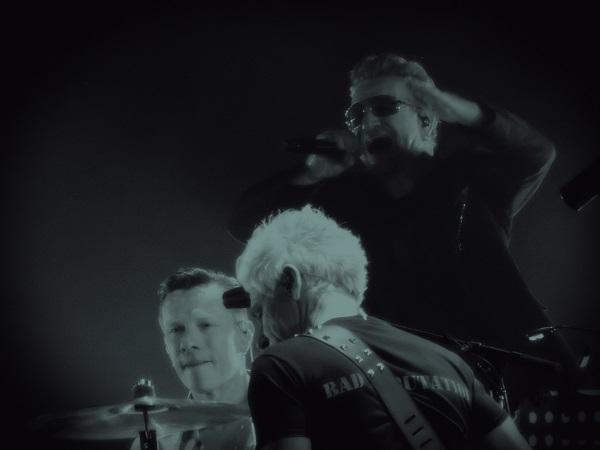 Larry M Jr Bono and Adam Clayton at U2 concert in Dublin 23 Nov 2015