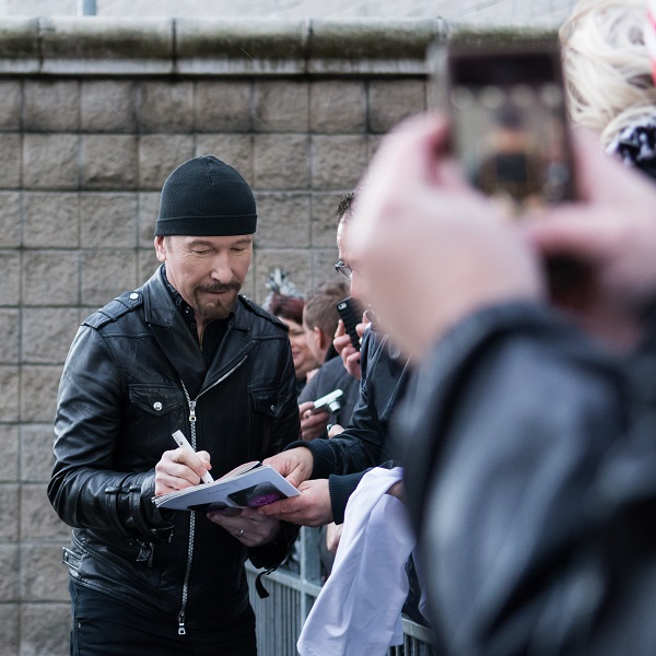 The Edge in Belfast meeting fans 18 Nov 2015
