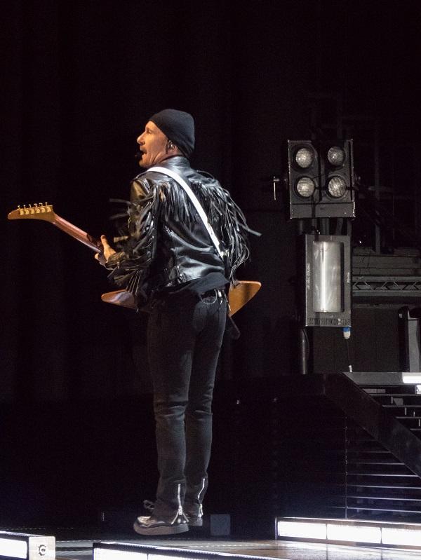 The Edge in the Air at U2 concert in Dublin 24 Nov 2015