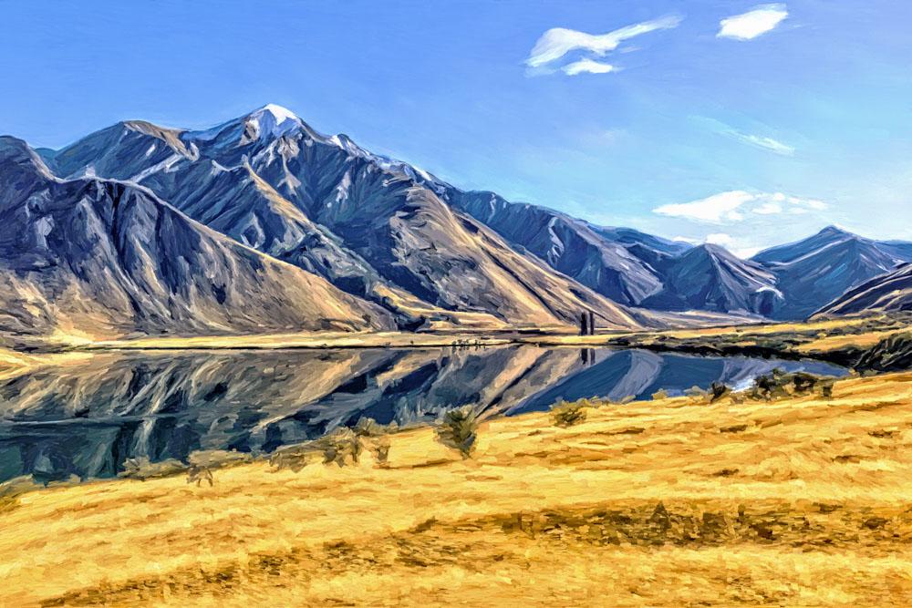 Artwork Moke Lake in New Zealand by Kristin Greenwood
