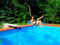 Enjoying a splash in the pool.