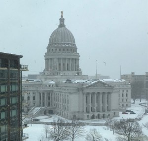 Snowy capital building in Madison