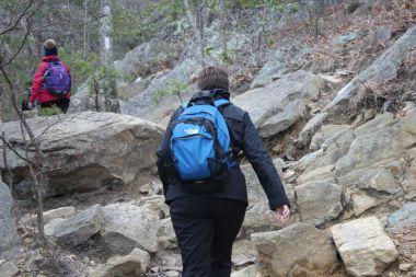 Climbing stone stairs