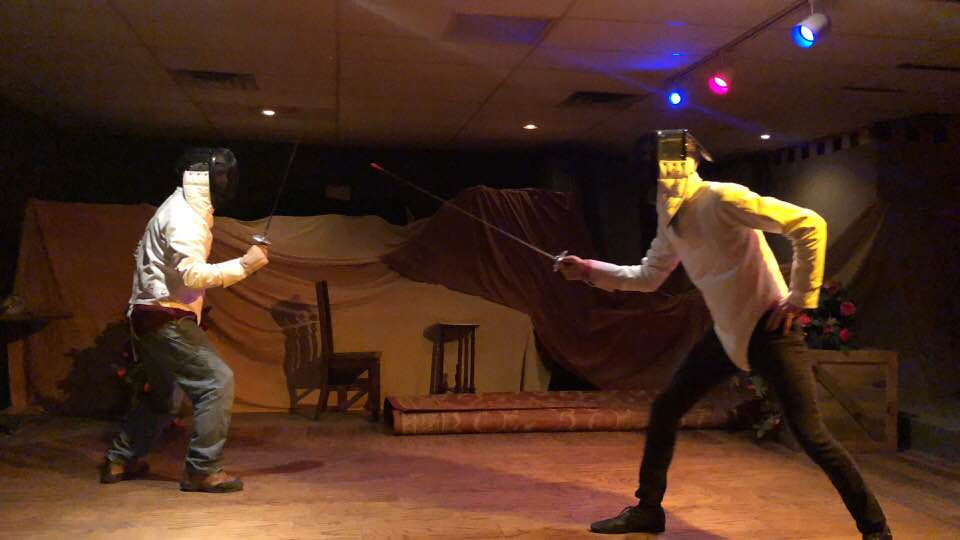 Brian Byrnes and Rob Doyle sword fighting