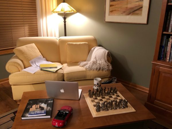 Kristin's yellow couch - her favorite writing spot