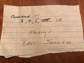 "My father's note with ""Krissy's Best Seller"" written on it"