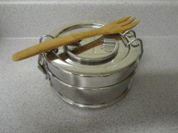 Single tiffin with bamboo fork