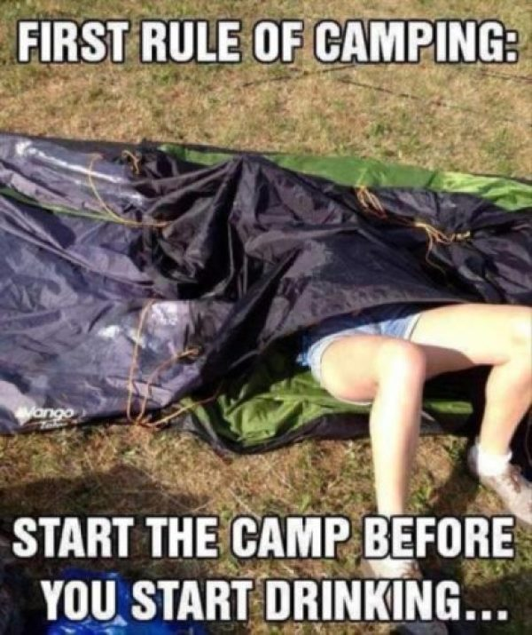 First rule of camping! #campvibes #camping #camper #funny #funnymemes