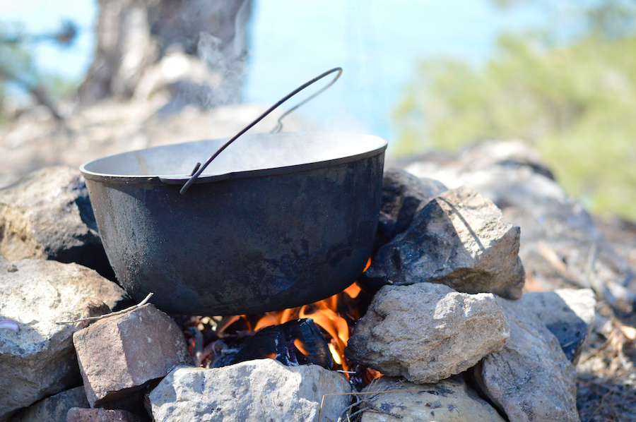 Campfire smores on fire