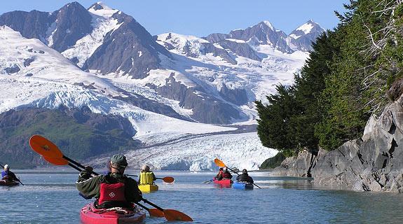 Kayaking in Alaska near glaciers #alaska #kayaking #alaskaadventures