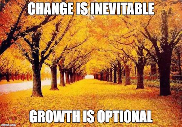 Change is inevitable. Growth is optional. #change #grow #letgo #fall #autumn #fallmemes
