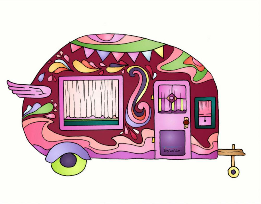 Pink Vintage Camper Van Sticker #camping #stickers #campingstickers