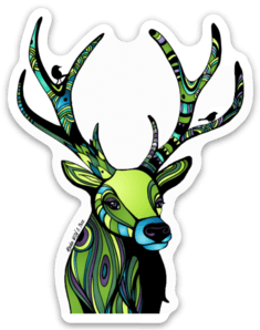 Regal Green Deer Sticker #deers #deersticker #wildlifestickers #greenstickers