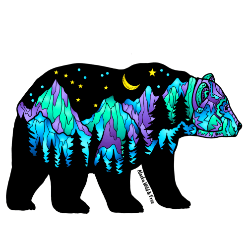 Northern Lights Big Dipper Bear Sticker by Alaska Wild & Free