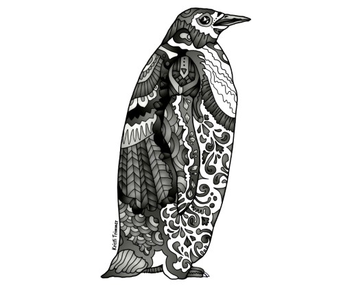 Black & White Penguin Sticker