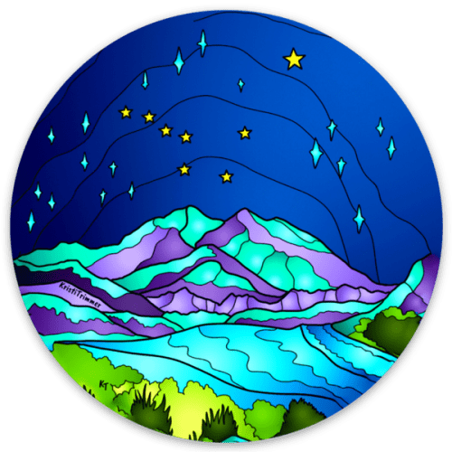 Denali Mountain Circle Sticker