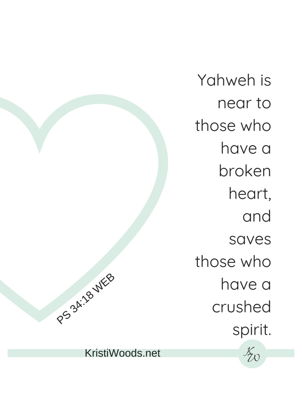 Psalm 34:18 Yahweh is near. Light green heart, black lettering on white background