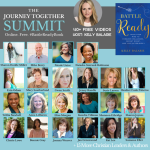 The Journey Together Summit - a collage of Christian author and speaker headshots on a blue background