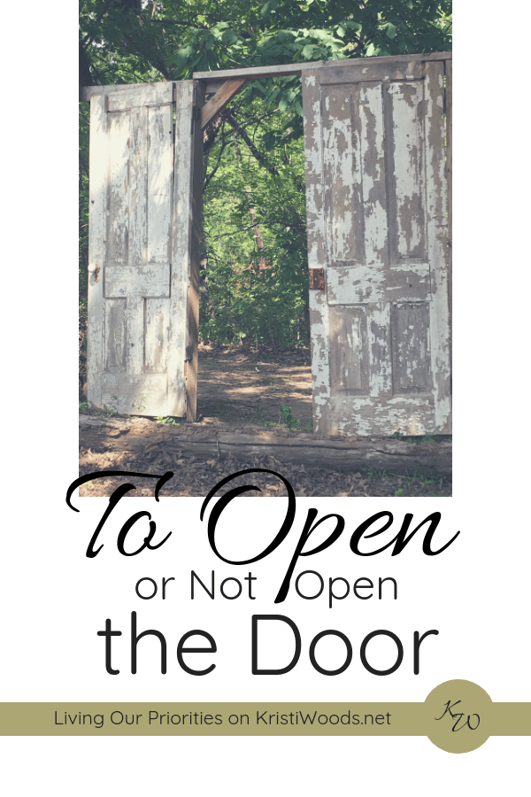 White background with picture of weathered, green doors opening and the words, To Open of Not Open the Door written below it in black.