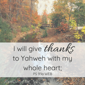 fall woods view with Psalm 91a on it