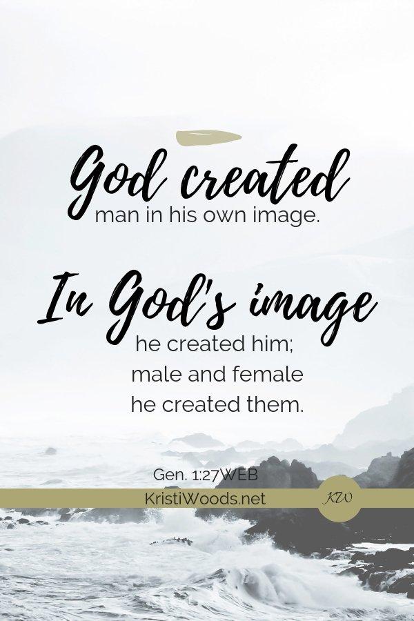 Ocean backdrop with the words of Gen. 1:27