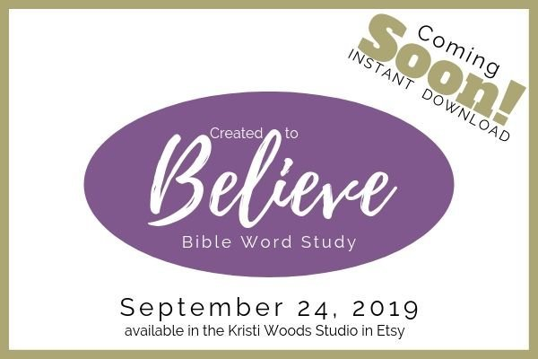 Purple oval advertising Created to Believe Bible Study by Kristi Woods